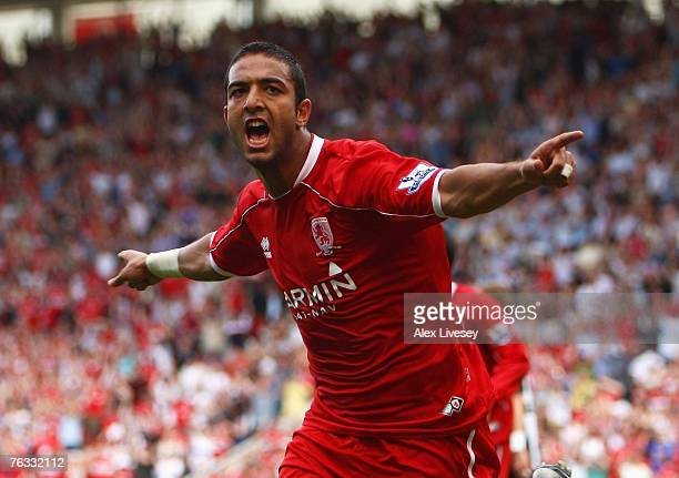 Mido of Middlesbrough celebrates after scoring the equalizing goal during the Barclays Premier League match between Middlesbrough and Newcastle...