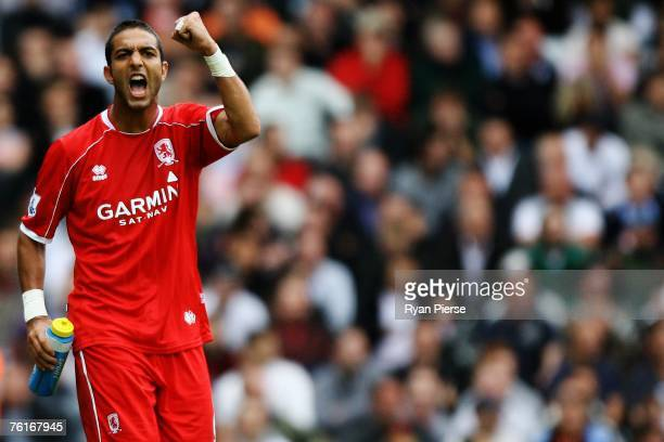 Mido of Middlesbrough celebrates scoring his teams first goal of the game during the Barclays Premiership match between Fulham and Middlesbrough at...