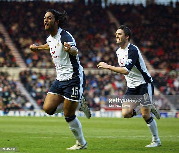 Mido of Tottenham celebrates his goal during the Barclays Premiership match between Middlesbrough and Tottenham Hotspur at the Riverside Stadium on...