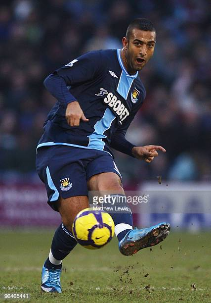 Mido of West Ham United in action during the Barclays Premier League match between Burnley and West Ham United at Turf Moor on February 6 2010 in...