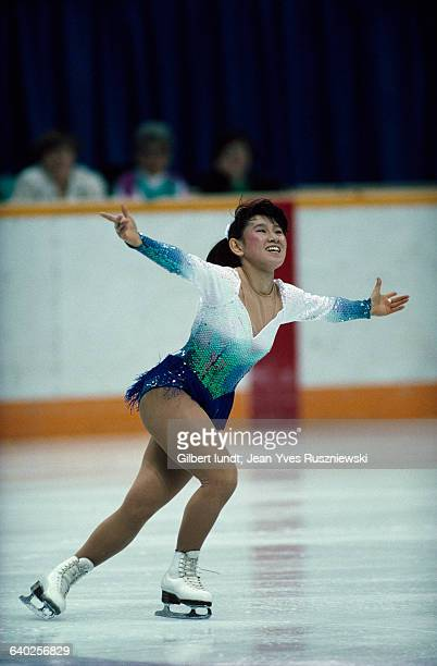 Midori Ito from Japan performs at the 1988 Winter Olympics