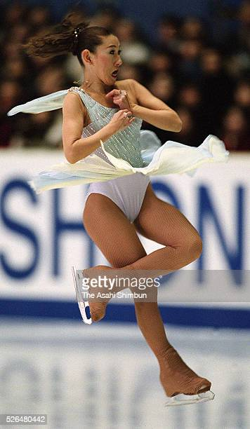 Midori Ito of Japan competes in the Figure Skating Japan Open at the Yoyogi National Gymnasium on January 4 2001 in Tokyo Japan