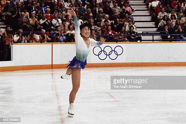 Midori Ito of Japan competes in the Figure Skating Ladies Free Program during the Calgary Olympic on February 27 1988 in Calgary Canada