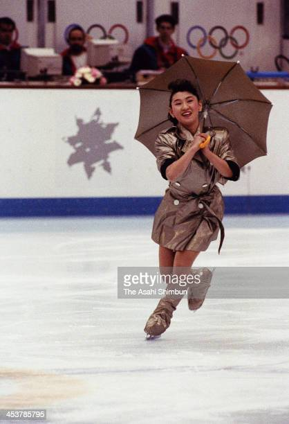 Midori Ito of Japan performs in the Figure Skating Gala Exhibition during the Albertville Olympic on February 22 1992 in Albertville France