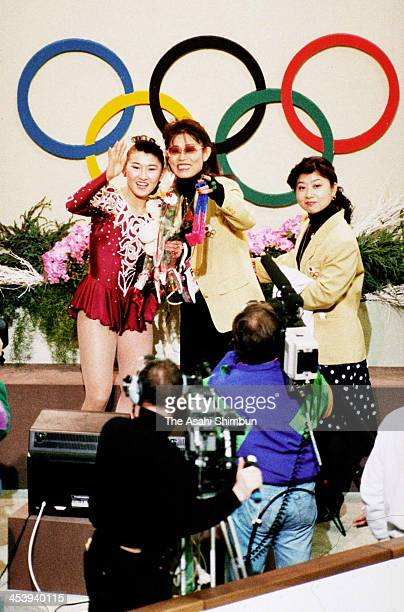 Midori Ito of Japan reacts after competing in the Figure Skating Ladies Singles Free Program during the Albertville Olympic on February 21 1992 in...