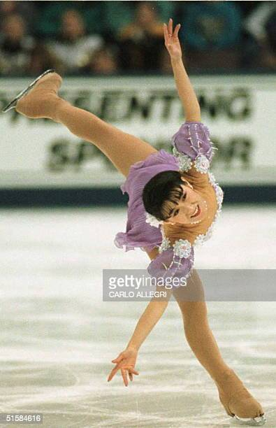 Midori Ito of Japan skates during qualification 18 March for the World Figure Skating Championships at the Edmonton Coliseum in Edmonton Canada The...