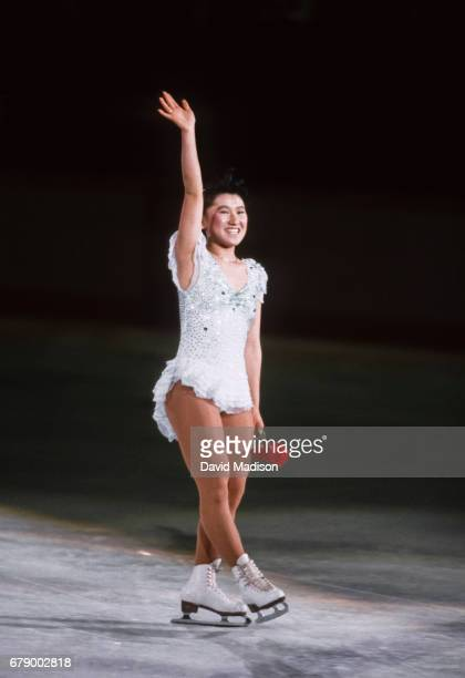 Midori Ito of Japan skates in the Figure Skating Exhibition at the 1988 Winter Olympic Games on February 28 1988 at the Saddledome in Calgary Alberta...