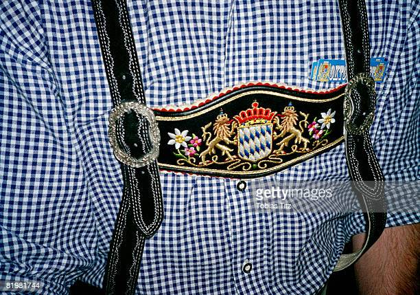 Midsection of a man wearing Lederhosen, German Club, Melbourne, Victoria, Australia, close up