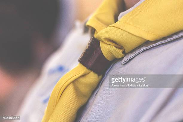 Midsection Of Boy Wearing Scout Scarf