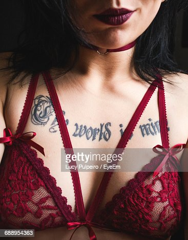Midsection Of Sensuous Woman With Tattoo While Wearing Red Bra