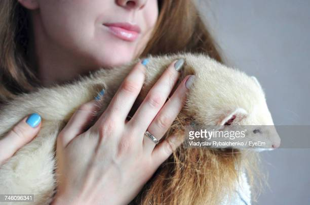 Midsection Of Woman Embracing Ferret Against Gray Background