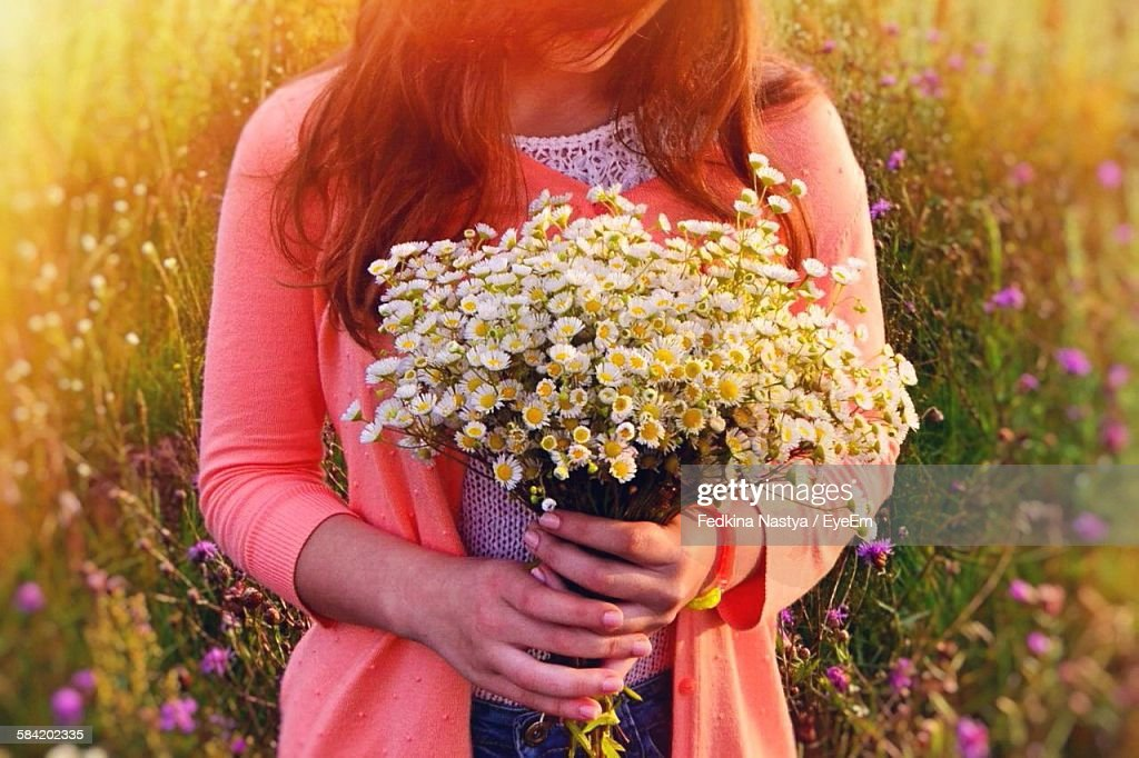 Midsection Of Woman Holding Daisies While Standing On Field