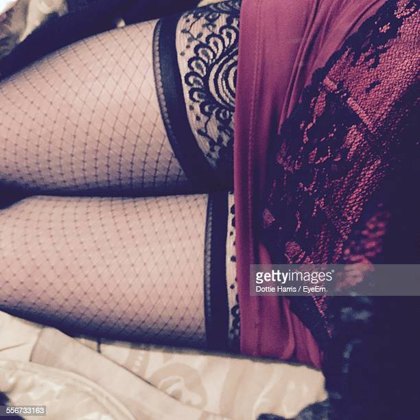 Midsection Of Woman In Fishnet Stockings