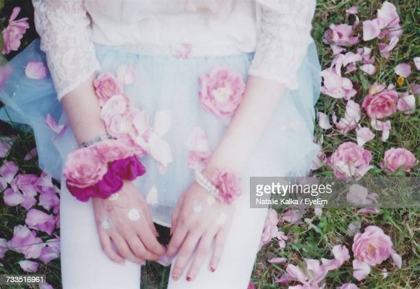 Midsection Of Woman With Pink Roses On Field