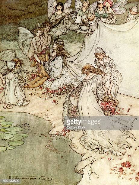 A Midsummer Night's Dream Illustration by Arthur Rackham to the play by William Shakespeare Titania and her changeling with fairy attendants Act 2...