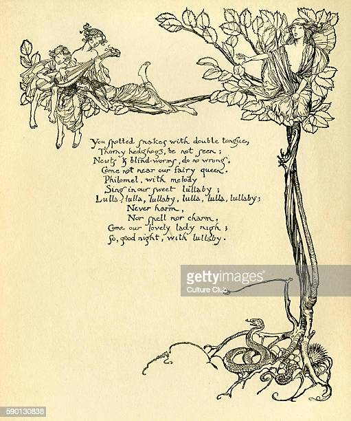 A Midsummer Night's Dream Illustration by Arthur Rackham to the play by William Shakespeare Act 2 scene 2 the fairies' lullaby to Titania English...