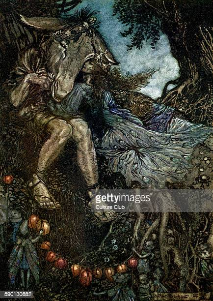 A Midsummer Night's Dream Illustration by Arthur Rackham to the play by William Shakespeare Act 4 scene 1 Bottom and Titania 'Sleep thou and I will...