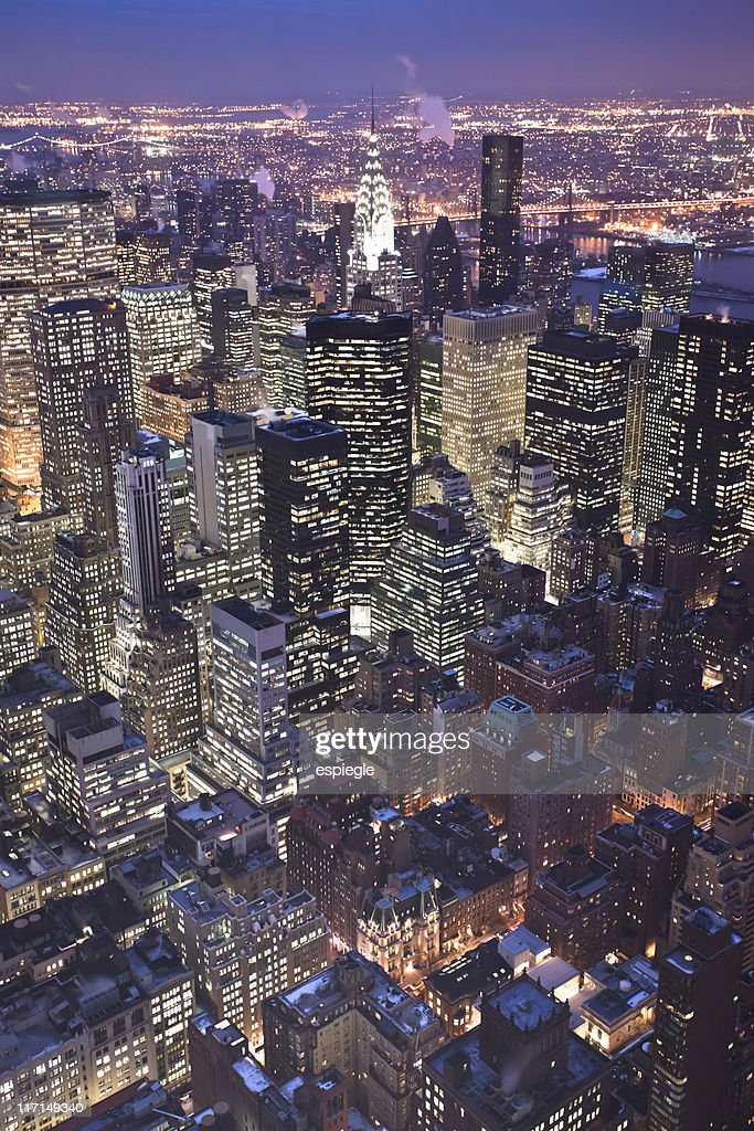 Midtown Manhattan at night from above : Stock Photo