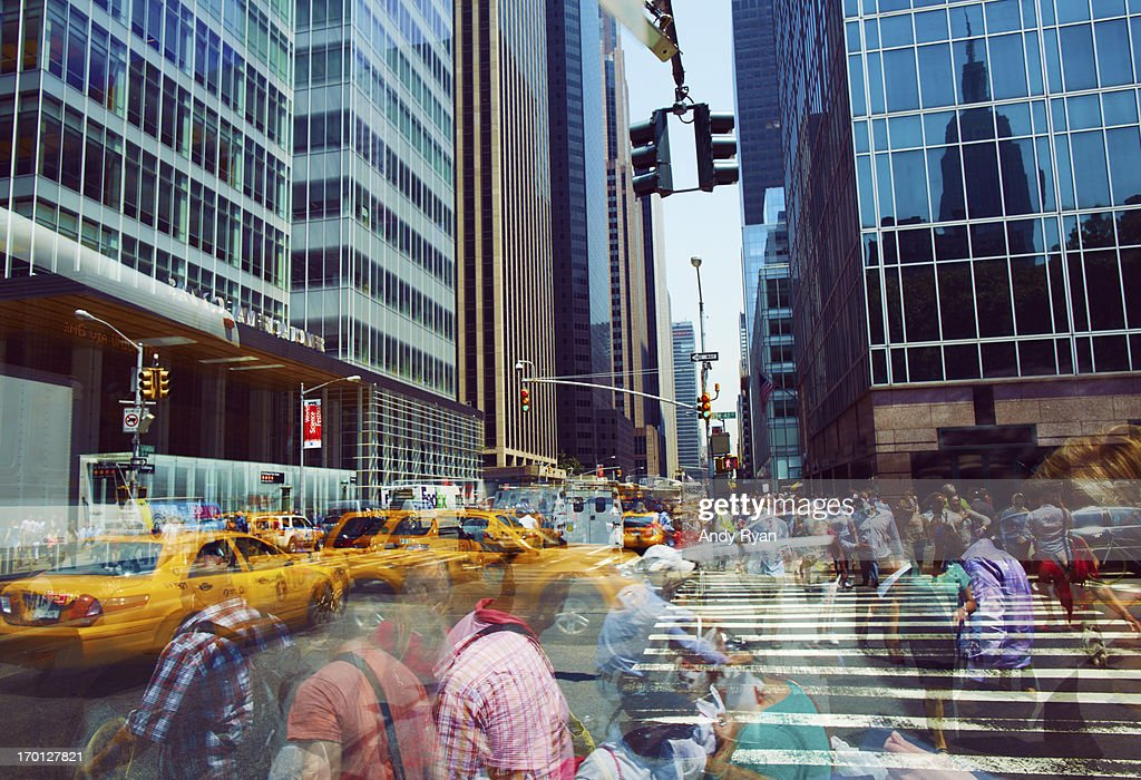 Midtown Manhattan, Multi-Exposure of Crowds. : Stock Photo