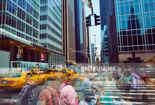 Midtown Manhattan, Multi-Exposure of Crowds. : Stockfoto