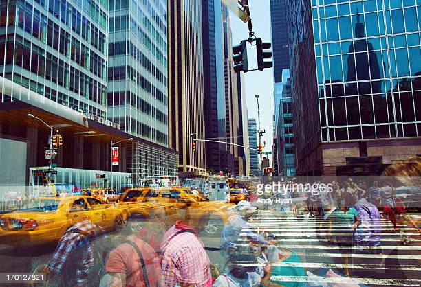 Midtown Manhattan, Multi-Exposure of Crowds.