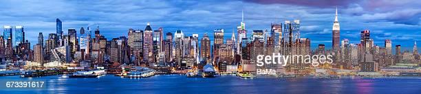 Midtown Manhattan, New York At Dusk Panoramic View