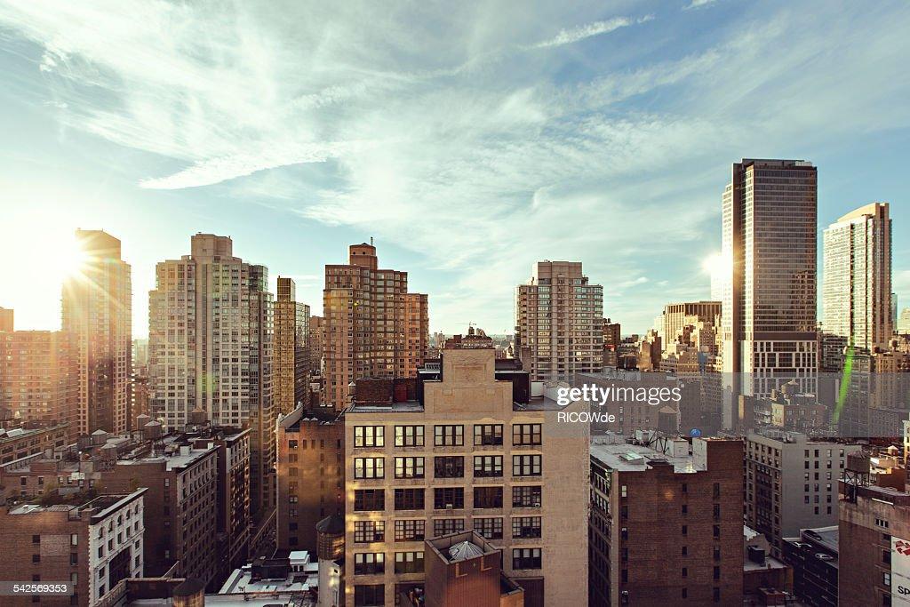 Midtown Manhattan sunset cityscape