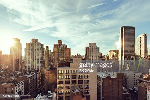 Midtown Manhattan sunset cityscape
