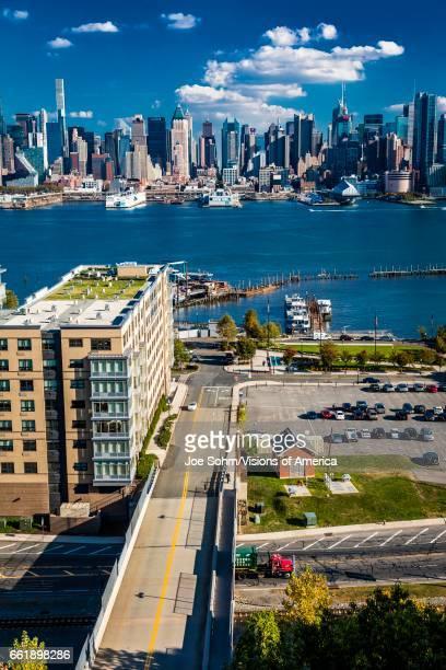 Midtown Skyline of Manhattan featuring the New VIA 57 West Pyramid as shot from Palisades Av NJ