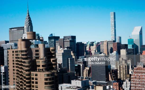 A midtown view from the American Copper Building is seen at 626 First Avenue on March 17 2017 in New York The building is a dualtower residential...