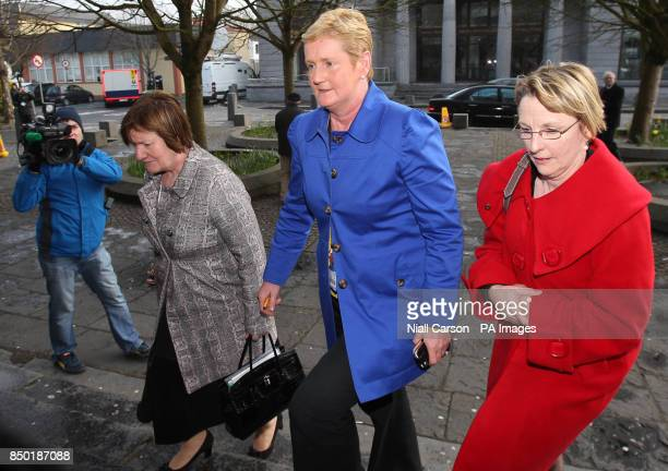 Midwife AnneMarie Burke and Una M Carr Assistant Director of Midwifery UCH Galway and another woman arrive for the inquest into the death of Savita...