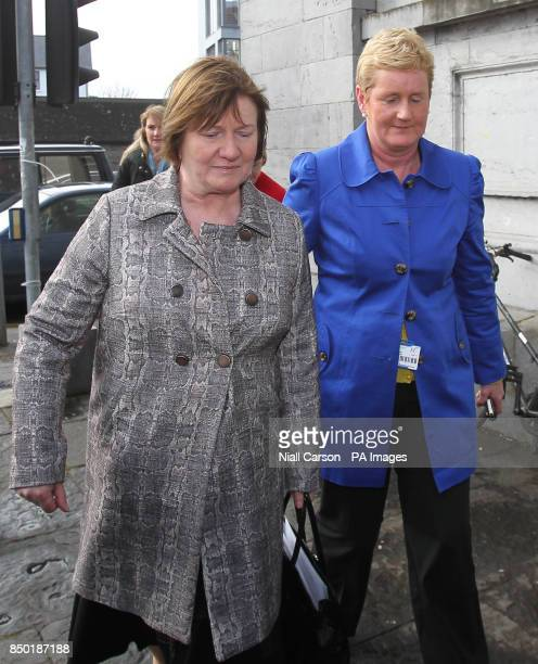 Midwife AnneMarie Burke and Una M Carr Assistant Director of Midwifery UCH Galway arrive for the inquest into the death of Savita Halappanavar at...