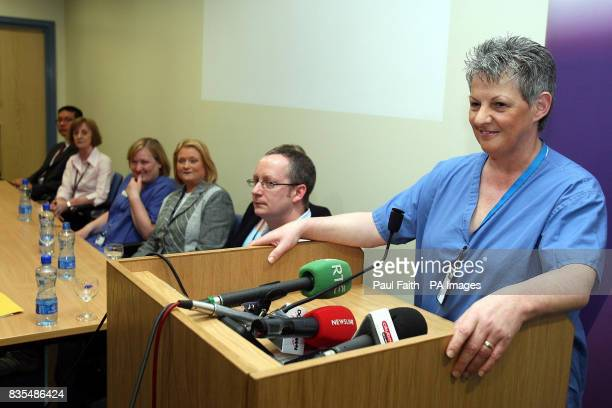 Midwifery Sister Patricia Denvir speaking at the Royal Victoria Hospital after a woman had six babies within five minutes at the Royal Hospital in...