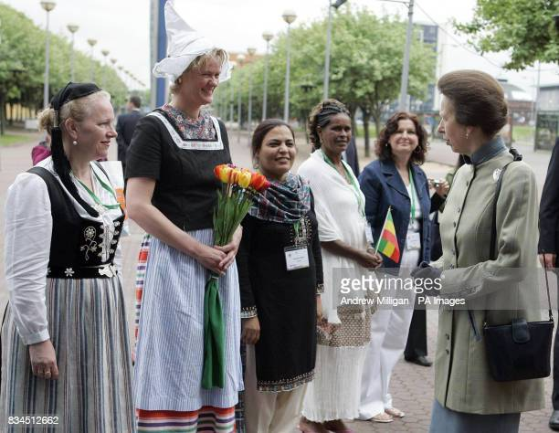 Midwives speak to the Princess Royal as she arrives at the 28th International Congress of Midwives in Glasgow