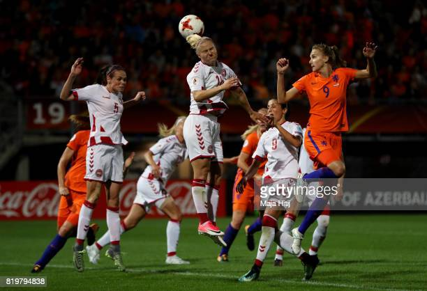 Mie Jans of Denmark jumps for a header during the UEFA Women's Euro 2017 Group A match between Netherlands and Denmark at Sparta Stadion on July 20...