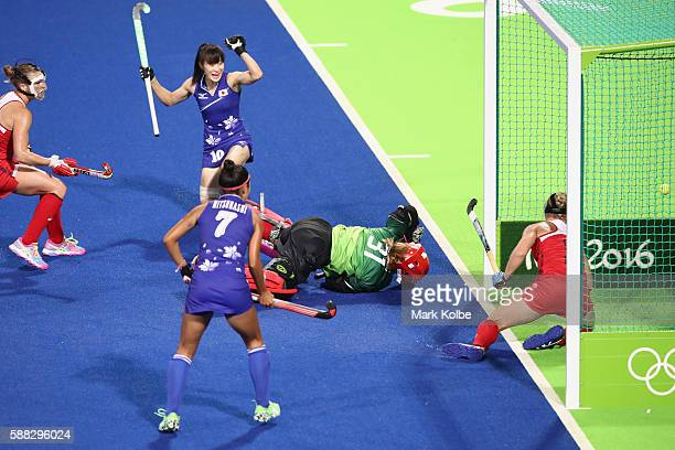 Mie Nakashima of Japan celebrates scoring a goal during the women's pool B match between the United States and Japan on Day 5 of the Rio 2016 Olympic...