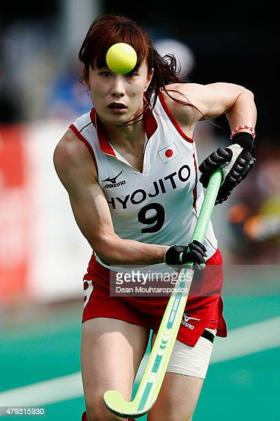 Mie Nakashima of Japan in action during the 5th to 8th place match between Belgium and Japan during the Fintro Hockey World League SemiFinals held at...