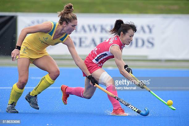 Mie Nakashima of Japan shoots a goal during the Festival of Hockey pool match Australia v Japan on Saturday April 02 2016 in Hastings New Zealand