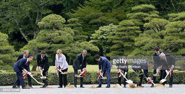 Mie Prefecture Govorner Eikei Suzuki European Council President Donald Tusk Italian Prime Minister Matteo Renzi German Chancellor Angela Merkel US...