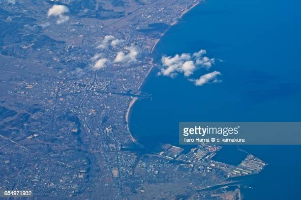 Mie Tsu city , daytime aerial view from airplane