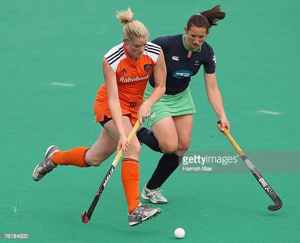Miek van Geenhuizen of Netherlands contests with Eimear Gregan of Ireland during the women's match between Netherlands and Ireland on day three of...