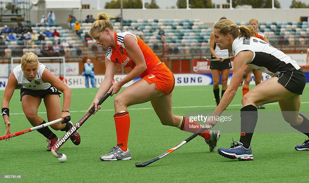 Miek Van Geenhuizen of the Netherlands in action during the Women's Hockey Champions Trophy second round match between Germany and the Netherlands at...
