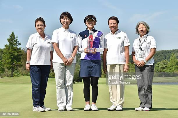 Mieko Suzuki vicepresident of LPGA Japan Hiromi Kobayashi chairman of LPGA Japan Yuka Shiroto of Japan Hisako Higuchi counselor of LPGA Japan Megumi...