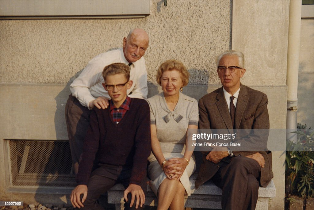 Miep and Jan Gies with their son Paul, and <a gi-track='captionPersonalityLinkClicked' href=/galleries/search?phrase=Otto+Frank&family=editorial&specificpeople=650673 ng-click='$event.stopPropagation()'>Otto Frank</a> (father of Anne Frank), circa 1965. Miep and Jan helped to hide Otto and his family during the German occupation of the Netherlands.