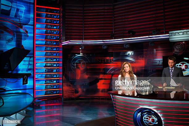 Miesha Tate is interviewed on Sportscenter at ESPN's headquarters on August 1 2013 in Bristol Connecticut Tate will battle bantamweight champion...