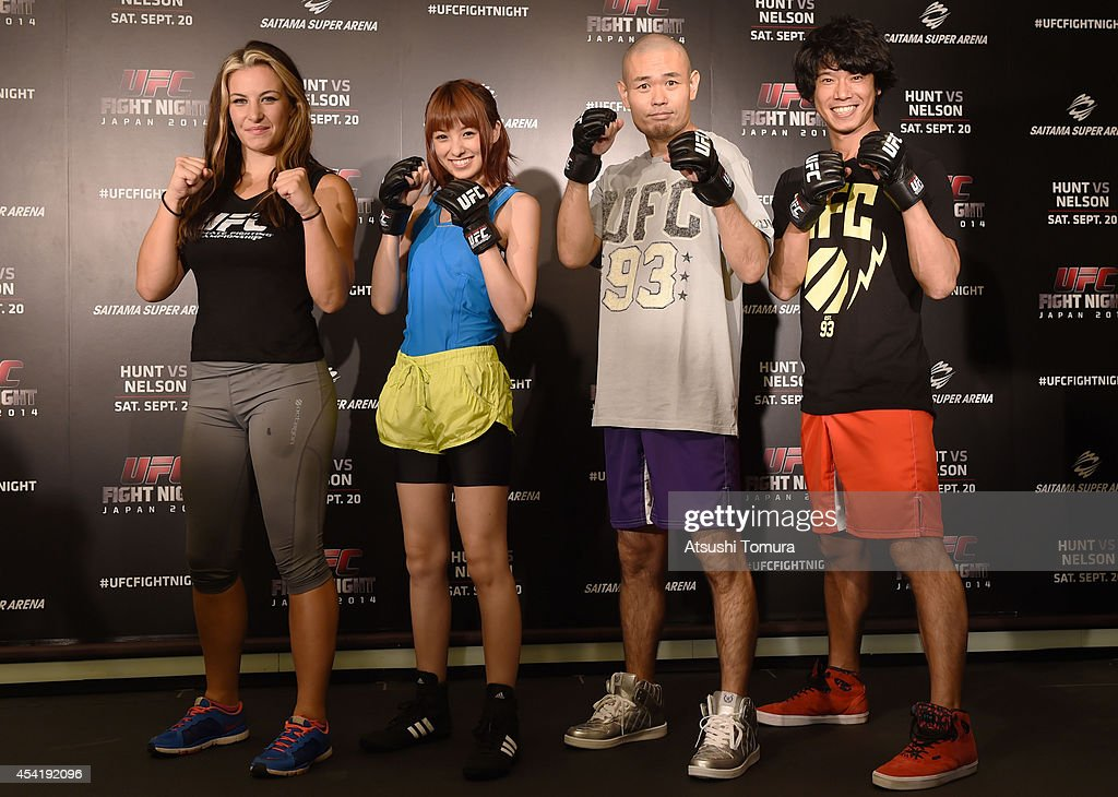 Miesha Tate, UFC women's bantaweight, Akina Minami, Hiroshi Shinagawa and Tomoharu Shoji pose for a photograph during a UFC press conference at Akasaka Garden City on August 26, 2014 in Tokyo, Japan.