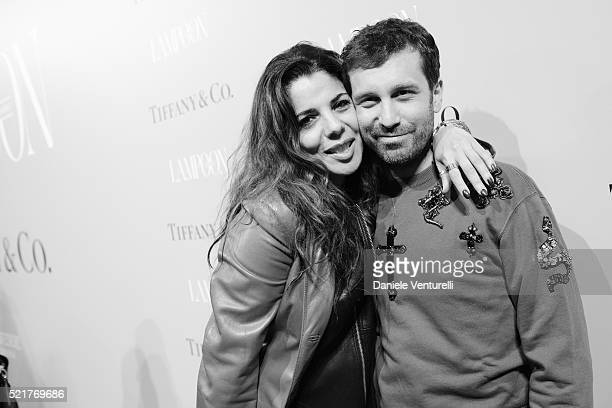 Mietta and Carlo Mazzoni attend The Fashionable Lampoon cocktail and dinner for The DOT Circle in via Bagutta on April 16 2016 in Milan Italy