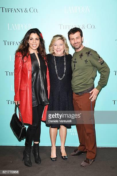 Mietta Raffaella Banchero and Carlo Mazzoni attend The Fashionable Lampoon cocktail and dinner for The DOT Circle in via Bagutta on April 16 2016 in...