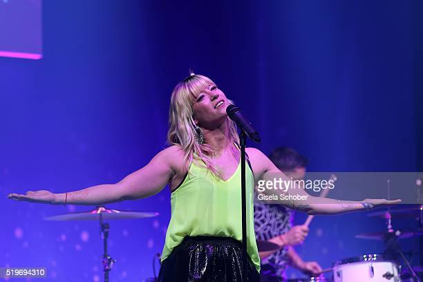 Mieze Katz a la Maria Mummert of the band Mia performs on stage during the German Computer Games Award 2016 at BMW World on April 7 2016 in Munich...