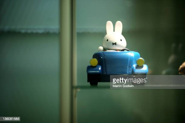 Miffy toy in his car in the Dick Bruna House Museum Utrcht The Netherlands 2nd October 2010